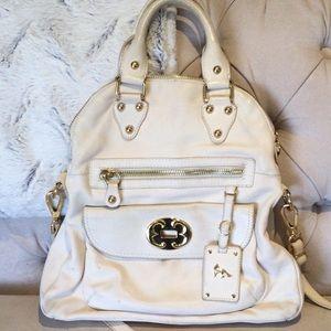 Emma Fox Classic Leather Foldover tote in white
